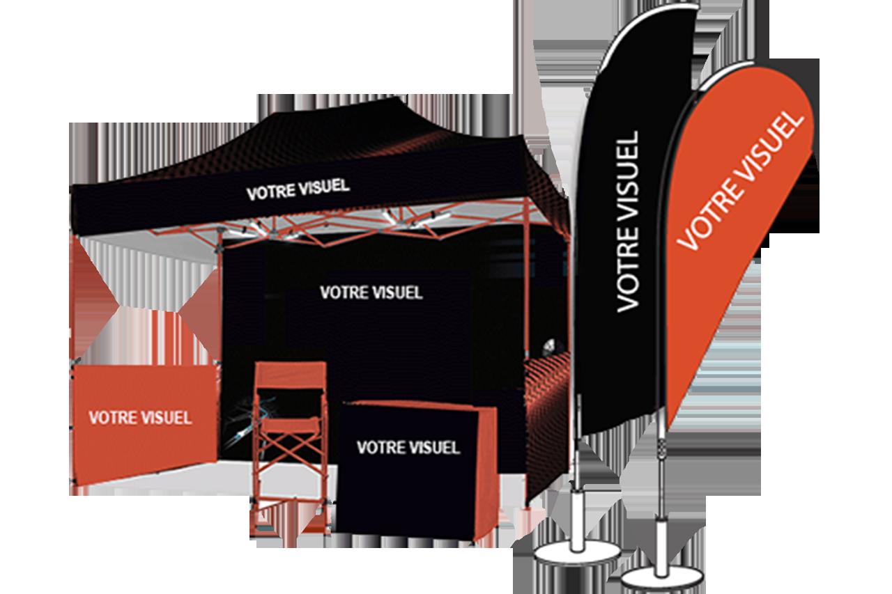 PLV oriflamme voile banderole stand chapiteau drapeaux publicitaire personnalisé